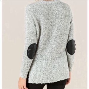 QUINN Leather Elbow Patched Knit Sweater